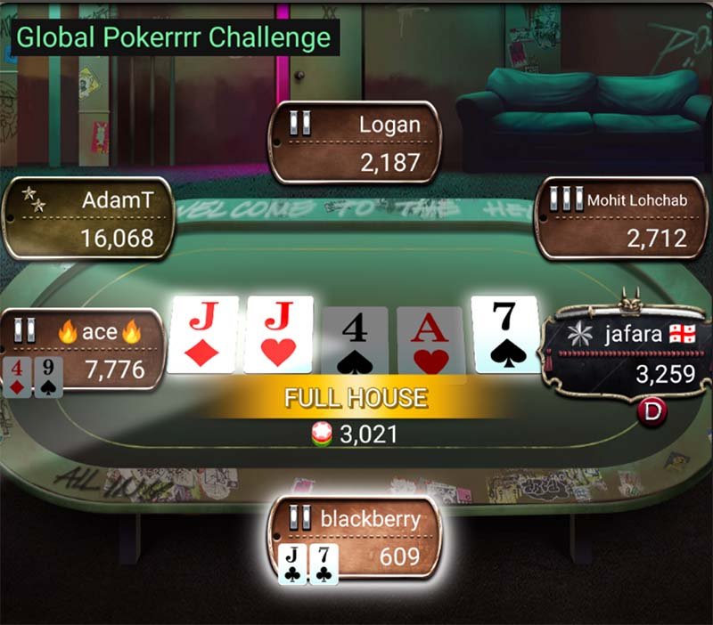 online poker game showing example hands of slow playing poker